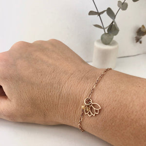 Citrine bracelet, 9ct Rose gold Lotus charm (bracelet rose gold plated), November Birthstone.