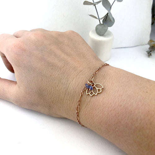 Tanzanite bracelet, 9ct Rose gold Lotus charm (bracelet rose gold plated), December Birthstone.