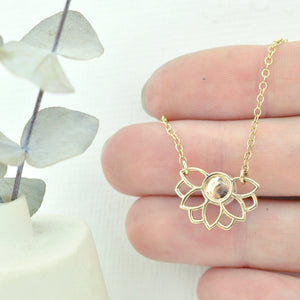 Pearl 9k Gold Necklace, Lotus flower, on a gold fill chain
