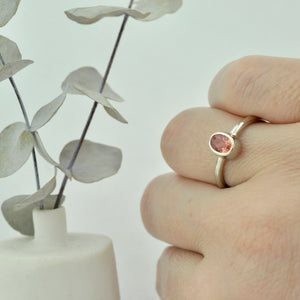 9ct white gold oval Peach Padparadscha Sapphire bezel set ring
