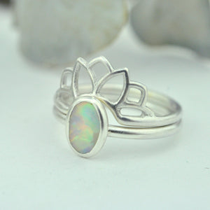 Australian solid oval Opal silver Lotus fitted ring set, October birthstone.