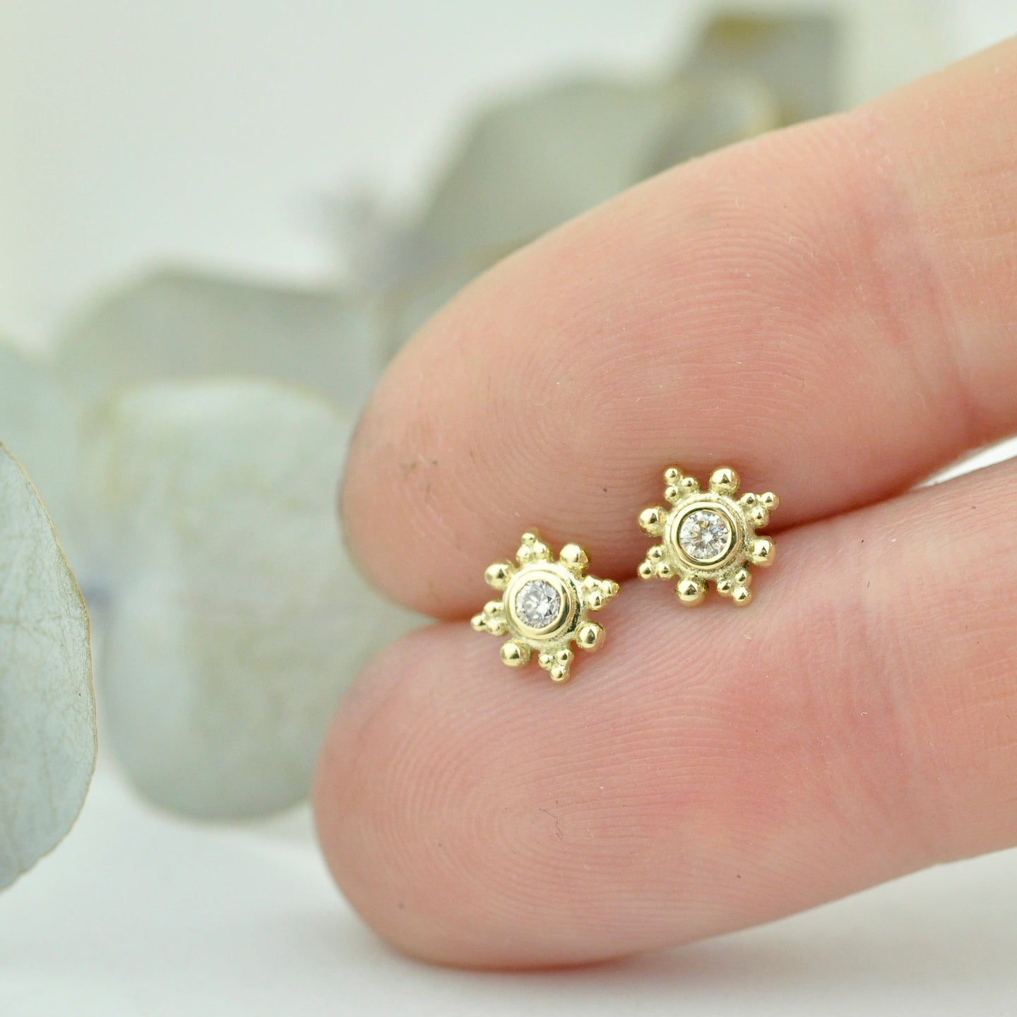 Single or pair Tiny Diamond 14ct Gold stud earrings, April birthstone.