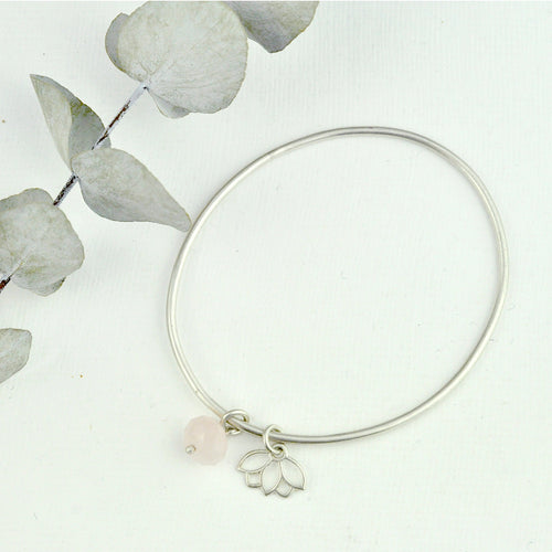 Sterling silver Lotus charm bangle, rose quartz bead.
