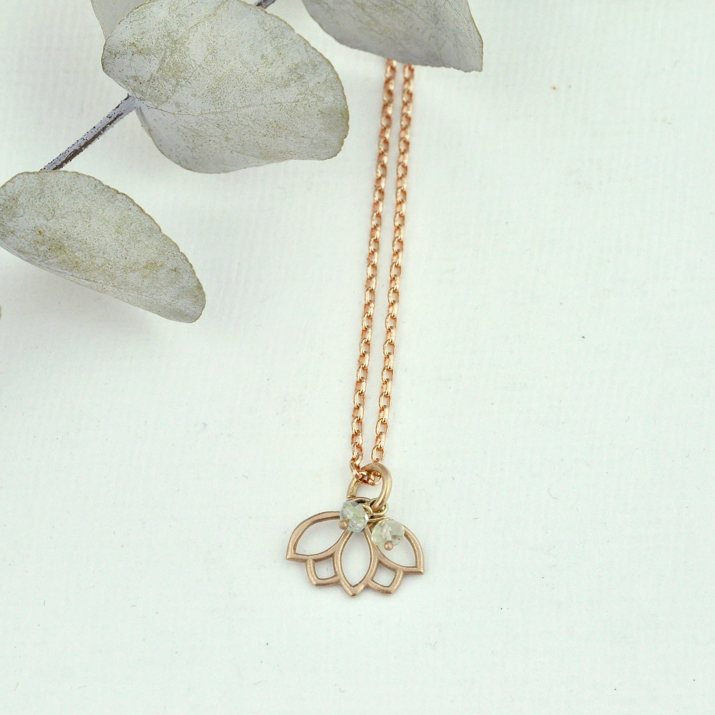 9ct Rose Gold Aquamarine March birthstone Minimal Lotus necklace, all birthstone options.