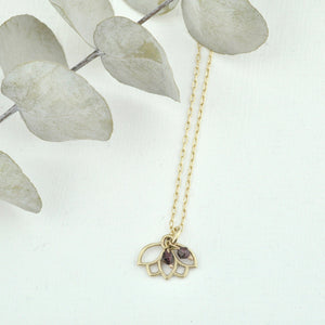 9ct Gold Garnet January birthstone Minimal Lotus necklace, all birthstone options.