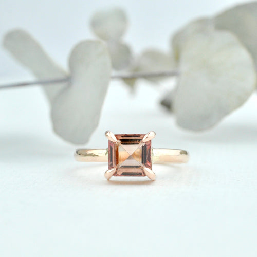 9ct Rose gold Asscher cut Peach Tourmaline talon claw set ring, custom made