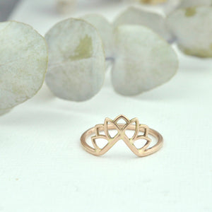 9ct Rose gold fitted Lotus ring.