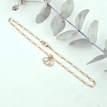 Anklet 9ct rose gold lotus charm, gold fill chain. Optional birthstone beads.
