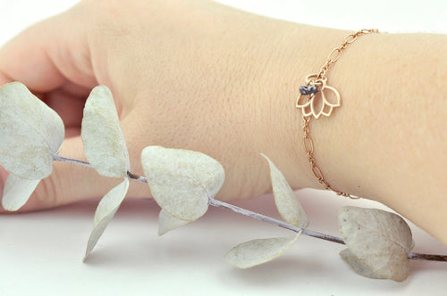 9ct Rose Gold Black diamond Lotus charm (on gold plated) bracelet, April Birthstone.