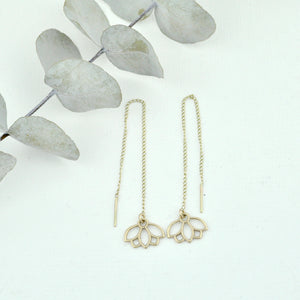9ct solid gold threader earring, lotus petal chain dangle earring.