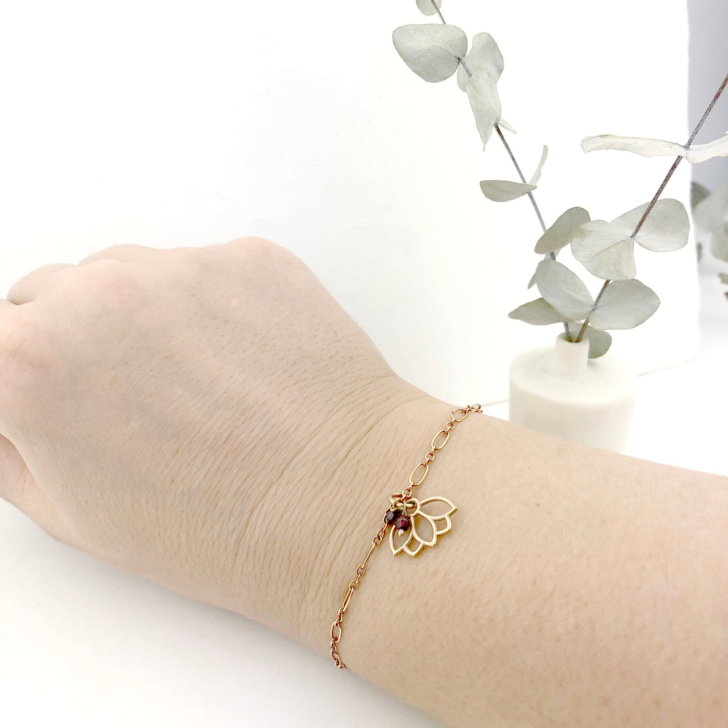 Garnet gemstone 9ct Rose gold Lotus charm (on gold plated) bracelet, January Birthstone.