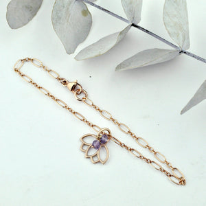 Amethyst gemstone 9ct Rose gold Lotus charm (on rose gold plated) bracelet, February Birthstone.