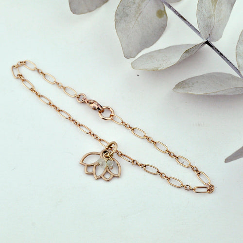 Aquamarine bracelet 9ct Rose gold Lotus charm (on rose gold plated) bracelet, March Birthstone.
