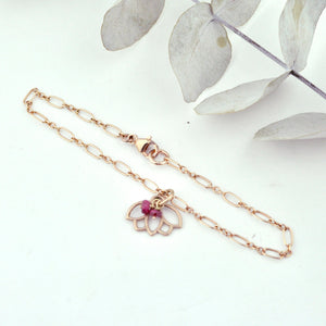 Ruby bracelet, 9ct Rose gold Lotus charm (bracelet rose gold plated), July Birthstone.