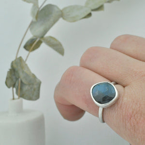 Labradorite freeform rose cut silver statement ring