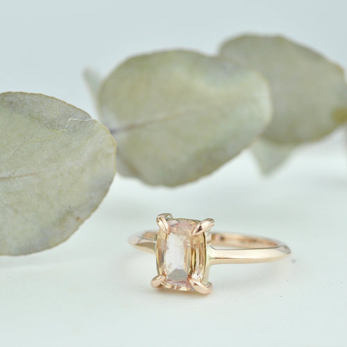 9ct Rose gold Rectangle Peach Sapphire claw set ring