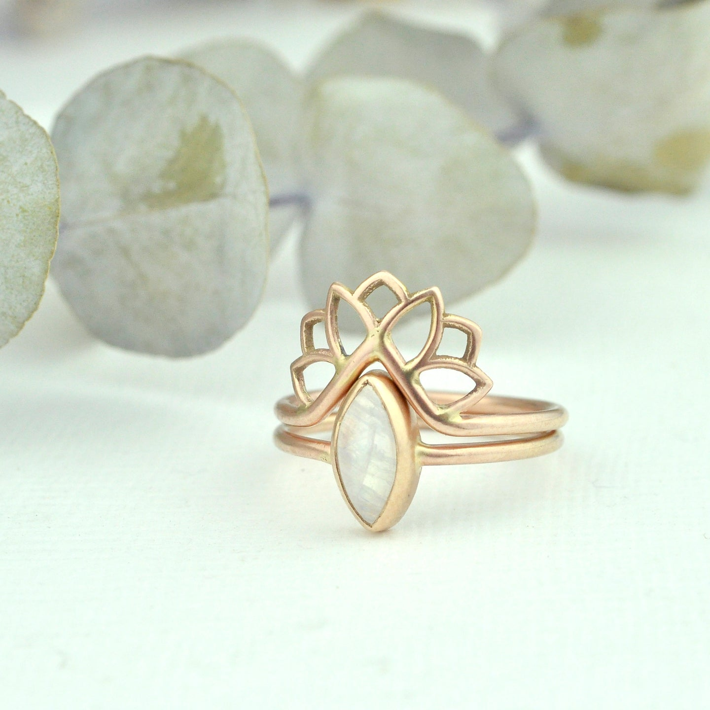 9ct Rose gold fitted Lotus ring set, marquise Moonstone ring.