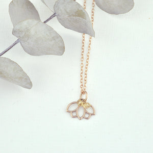 9ct Rose Gold Citrine November birthstone Minimal Lotus necklace, all birthstone options.