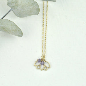 9ct Gold Amethyst February birthstone Minimal Lotus necklace, all birthstone options.
