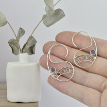 Amethyst Silver Paisley Hoop Earrings