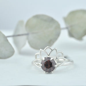 Spicy Pink Zircon Silver Lotus Fan ring.