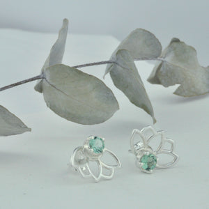 Lotus Green Tourmaline Silver studs