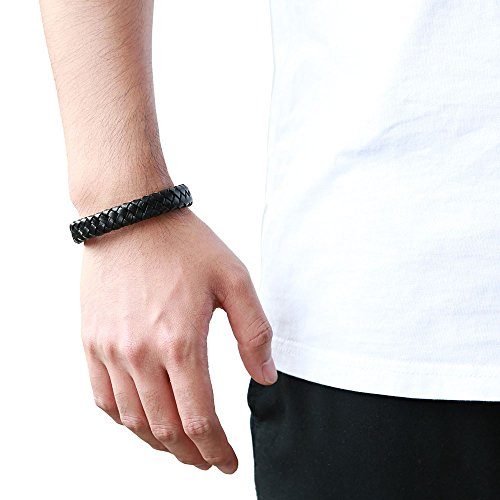 COOLSTEELANDBEYOND Wide Black Braided Leather Bracelet for Men Genuine Leather Wristband with Magnetic Box Clasp - coolsteelandbeyond