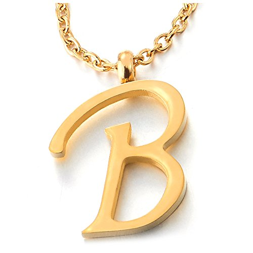 COOLSTEELANDBEYOND Womens Mens Steel Name Initial Alphabet Letter 26 A to Z Pendant Necklace, Gold Color - coolsteelandbeyond