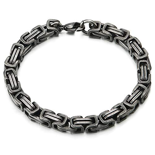 COOLSTEELANDBEYOND Masculine Style Stainless Steel Braid Link Bracelet for Men Silver Color Polished - coolsteelandbeyond