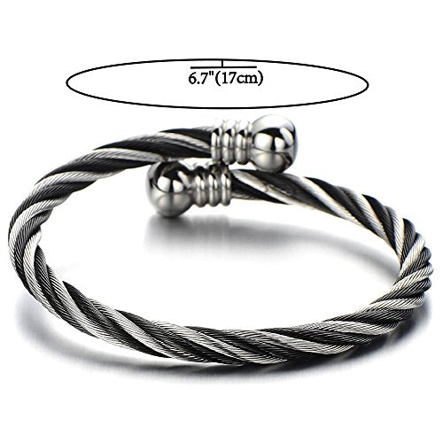 COOLSTEELANDBEYOND Elastic Adjustable Steel Twisted Cable Cuff Bangle Bracelet for Mens for Women - coolsteelandbeyond