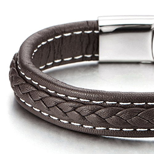 COOLSTEELANDBEYOND Brown Braided Leather Bracelet for Men Women with White Stitches Leather Wristband with Steel Clasp - coolsteelandbeyond
