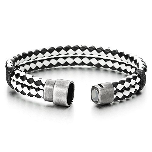 COOLSTEELANDBEYOND Black White Braided Leather Bracelet for Men Women Genuine Leather Bangle Wristband Magnetic Clasp - coolsteelandbeyond