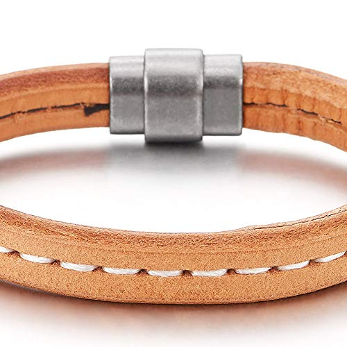 COOLSTEELANDBEYOND Light Brown Leather Bangle Bracelet for Mens Womens Genuine Leather Wristband with Magnetic Clasp - coolsteelandbeyond