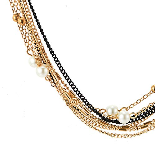 Black Gold Statement Choker Collar Necklace Multi-Strand Chains with Synthetic Pearls Ball Charms - coolsteelandbeyond
