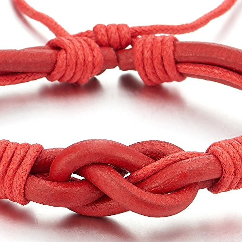 COOLSTEELANDBEYOND Friendship Nautical Knot Red Leather Bracelet Mens Women Genuine Leather Wristband Wrap Bracelet - coolsteelandbeyond