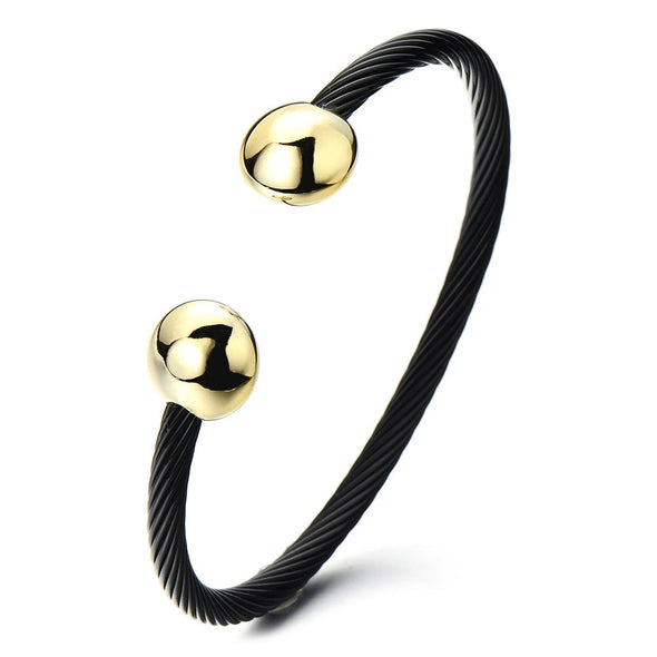 COOLSTEELANDBEYOND Adjustable Mens Womens Stainless Steel Twisted Cable Magnetic Bangle Bracelet Gold Black Two-Tone - coolsteelandbeyond