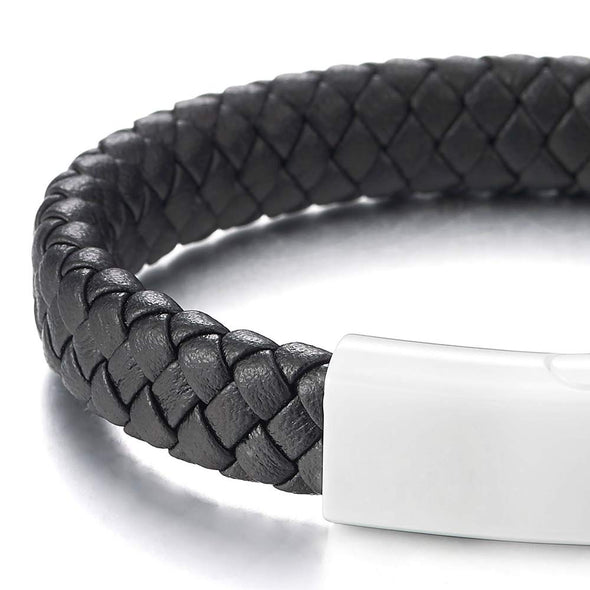 COOLSTEELANDBEYOND Men Women Black Braided Leather Bangle Bracelet Wristband White Ceramic Magnetic Clasp