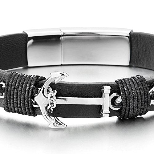 COOLSTEELANDBEYOND Mens Women Steel Nautical Marine Chain Anchor Black Leather Bangle Bracelet, Leather Wrap Wristband - coolsteelandbeyond
