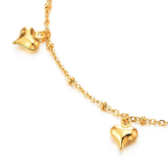 Gold Color Steel Link Chain Anklet Bracelet with Dangling Charms of Puff Hearts and Jingle Bell - coolsteelandbeyond