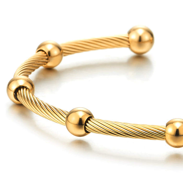 Elastic Adjustable Mens Women Gold Color Steel Beads Charm Twisted Cable Bangle Cuff Bracelet