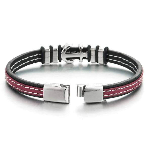 Mens Womens Two-layer Red Black Leather White Stitches Bracelet with Steel Marine Anchor Charm - coolsteelandbeyond