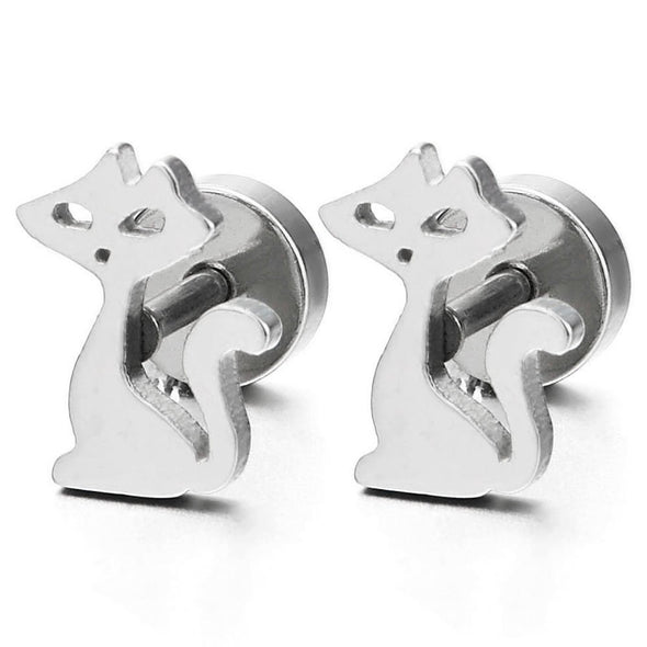 Women Cute Cat Stud Earrings in Stainless Steel, Screw Back, 2 pcs