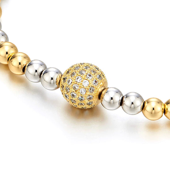 Beautiful Gold Silver Two-Tone Beads Bracelet for Women with Cubic Zirconia Ball - coolsteelandbeyond