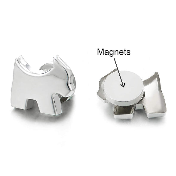 Small Magnetic Puppy Dog Stud Earrings, Non-Piercing Clip On Cheater Ear Gauges, Polished - coolsteelandbeyond
