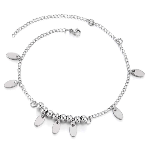 COOLSTEELANDBEYOND Stainless Steel Anklet Bracelet with Dangling Charms of Oval Leaves - coolsteelandbeyond