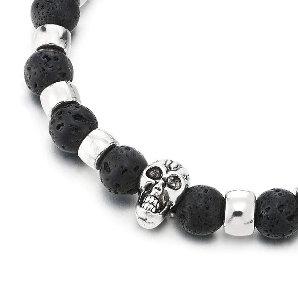 COOLSTEELANDBEYOND Gothic Mens Womens 8.5MM Matt Black Volcanic Lava Stone Link Metal Beads Bracelet with Skull Charm - coolsteelandbeyond