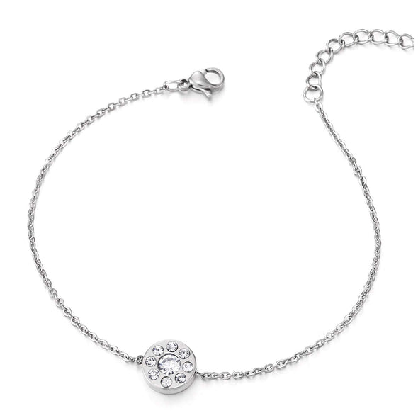 COOLSTEELANDBEYOND Stainless Steel Link Chain Anklet Bracelet with Charm of Circle and Cubic Zirconia, Adjustable - coolsteelandbeyond