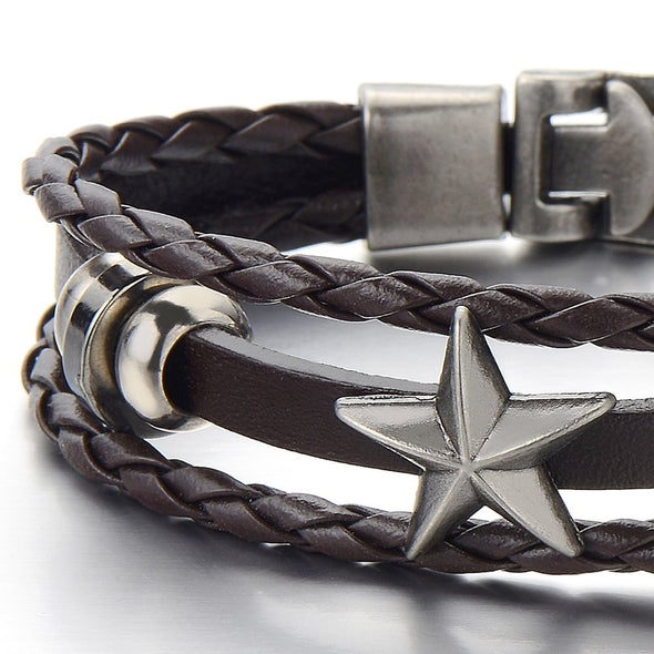 COOLSTEELANDBEYOND Mens Star Brown Braided Leather Bracelet Multi-Strand Leather Wristband Wrap Bracelet - coolsteelandbeyond