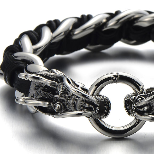 COOLSTEELANDBEYOND Stainless Steel Mens Dragon Curb Chain Bracelet Interwoven with Black Genuine Leather Strap - coolsteelandbeyond