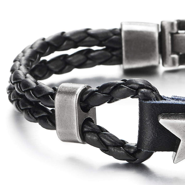 COOLSTEELANDBEYOND Men Women Two-Row Black Braided Leather Bangle Bracelet Wristband with Grey Star Pentagram Charm - coolsteelandbeyond